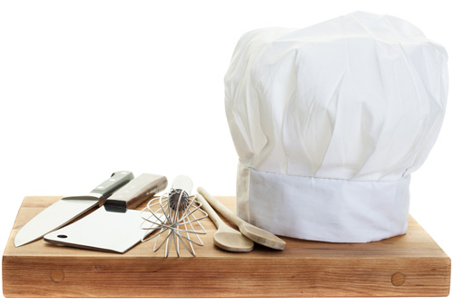 Chefs Hat on Butcher Block
